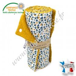 Essuie-tout lavable, coton imprimé Zantéme, éponge de coton moutarde, Migrette et Cie