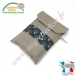 Pochette à livre en tissu, Lin enduit et coton imprimé Ginza