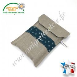 Pochette à livre en tissu, Lin enduit et coton imprimé Pipson paon, Migrette et Cie