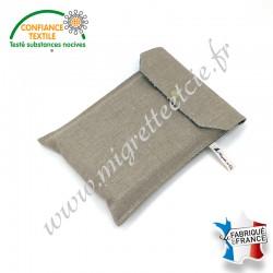 Pochette à livre en tissu, Lin enduit et coton imprimé Lixneg paon, Migrette et Cie