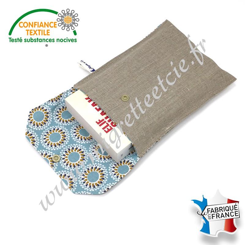Pochette à livre en tissu, Lin enduit et coton imprimé Malawa, Migrette et Cie