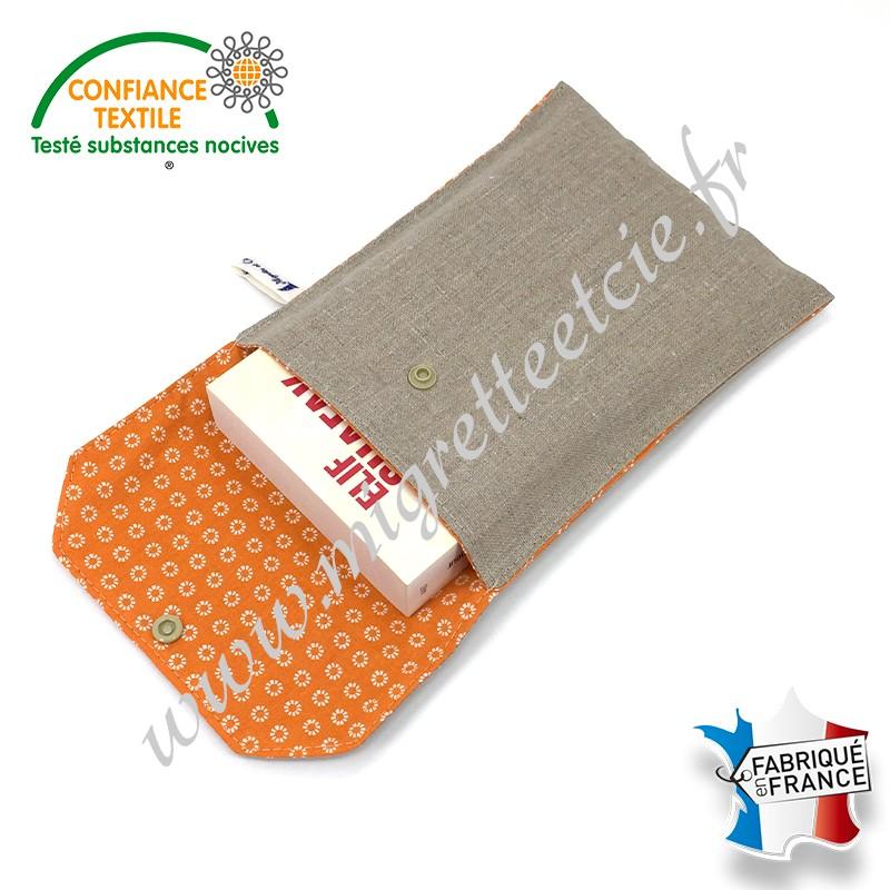 Pochette à livre en tissu, Lin enduit et coton imprimé Orange, Migrette et Cie