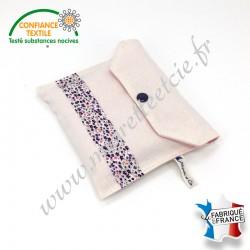 Pochette en tissu et 5 lingettes lavables, éponge de bambou, coton bio rose, Migrette et Cie