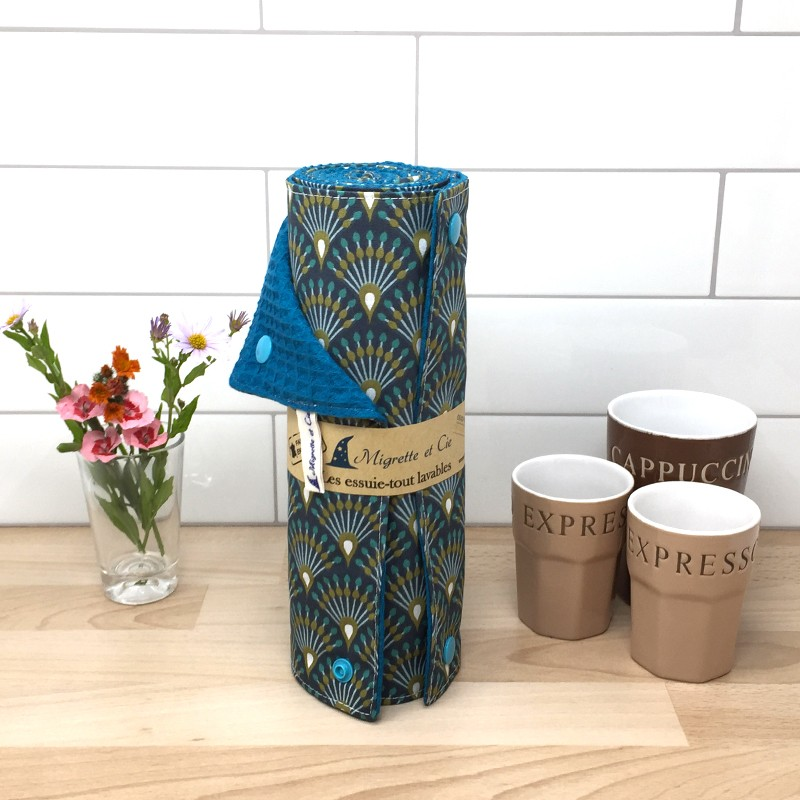 Essuie-tout lavable, coton imprimé Ginza, éponge nid d'abeille Paon, Migrette et Cie