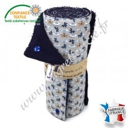 Essuie-tout lavable, coton imprimé Sasaki, éponge de coton bleu nuit - Migrette et Cie