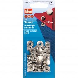 Recharge pour boutons pression sans couture pour 390330, 12mm, argenté, Prym