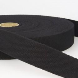 Sangle coton 30mm, Noir, au mètre, Migrette et Cie