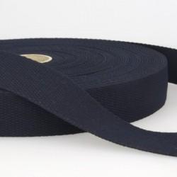Sangle coton 30mm, Bleu marine, au mètre, Migrette et Cie