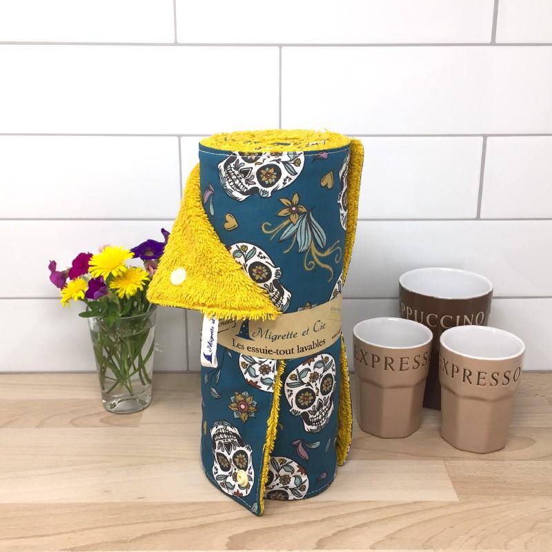Essuie-tout lavable, coton imprimé Calaveras Canard, éponge de coton, Migrette et Cie