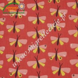 Coton enduit imprimé Paps rouge, Migrette et Cie